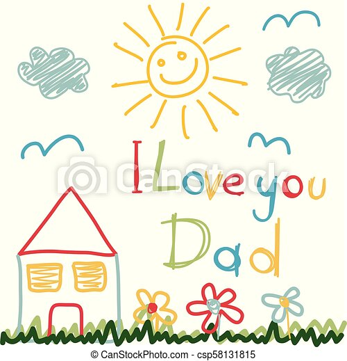 padre, disegnato, giorno, mano scheda - csp58131815