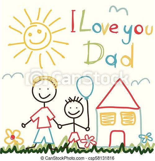 padre, disegnato, giorno, mano scheda - csp58131816