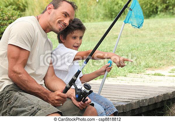padre, pesca, figlio - csp8818812