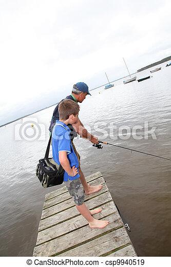 padre, pesca lago, figlio - csp9940519
