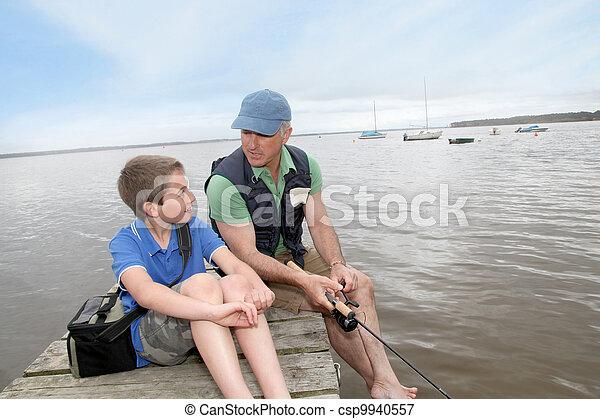 padre, pesca lago, figlio - csp9940557