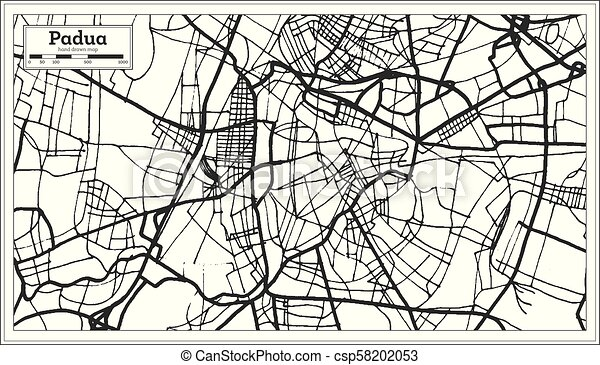 Padua Italy City Map In Retro Style Outline Map Vector Illustration