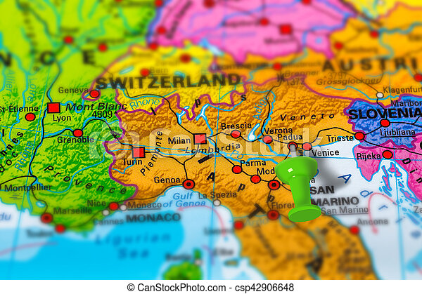 Padua Italy Map Padua In Italy Pinned On Colorful Political Map Of