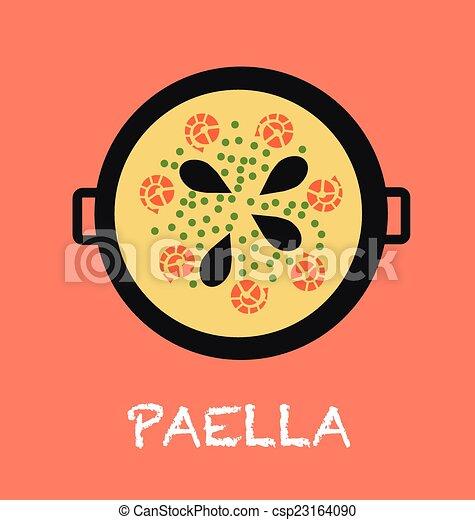Dessin Paella paella. vectors., fait, nourriture, illustration, typique.