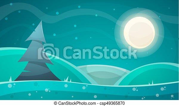 Paesaggio. abete illustrazione luna notte cartone animato