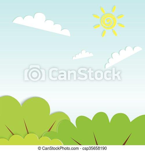 paesaggio, cartone animato, paese, orizzontale, carino - csp35658190