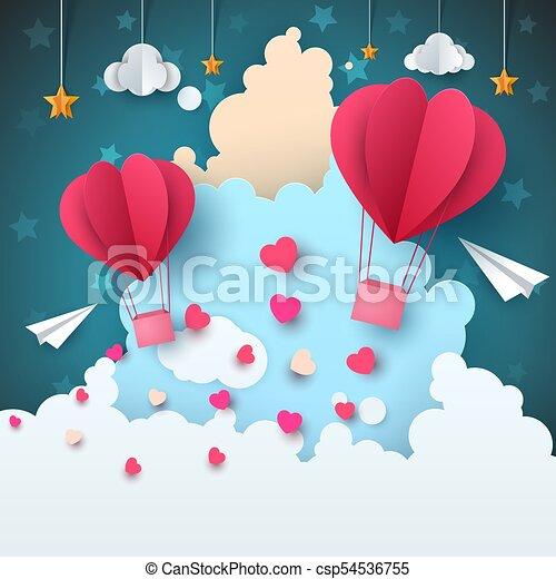 Paesaggio. cuore amore star. aria aeroplano carta nuvola