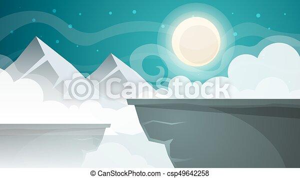 Paesaggio. illustration. luna notte cartone animato montagna