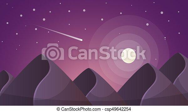 Paesaggio. illustration. montagne luna notte cartone animato