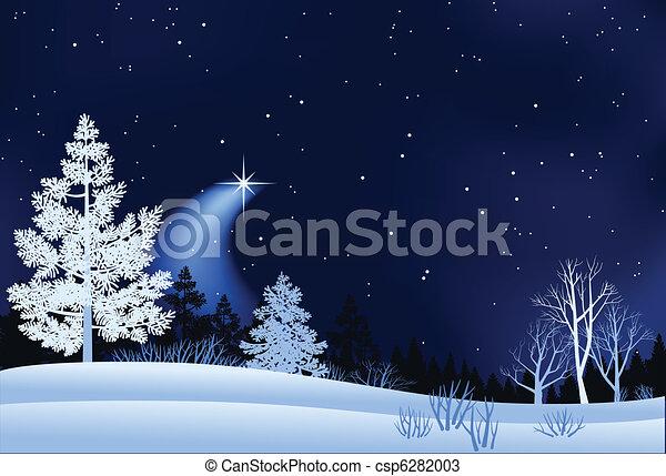 paesaggio, inverno, illustrazione - csp6282003