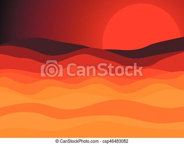 paesaggio, sole, illustrazione, vettore, tramonto, desert., deserto, rosso - csp46483082