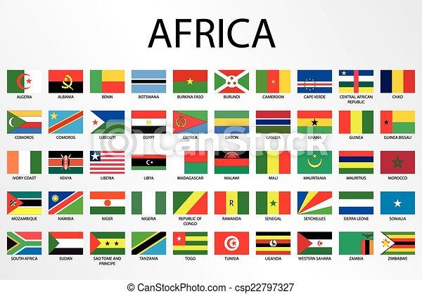 paese, alfabetico, africa, bandiere, continente - csp22797327