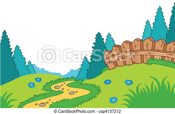 paese, cartone animato, paesaggio - csp4137212
