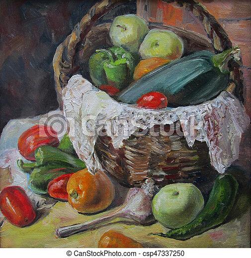 paese, dipinto olio, verdura - csp47337250