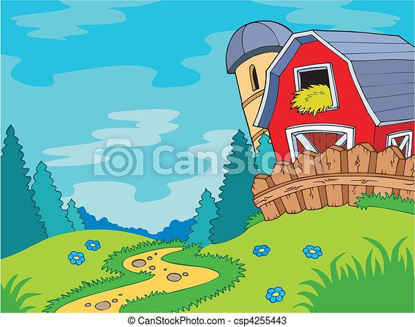 paese, paesaggio, granaio - csp4255443