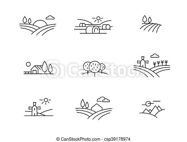 paese, paesaggio, icone - csp39178974