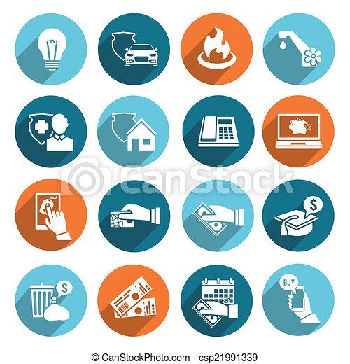 pagar, ícones, conta, jogo, apartamento - csp21991339