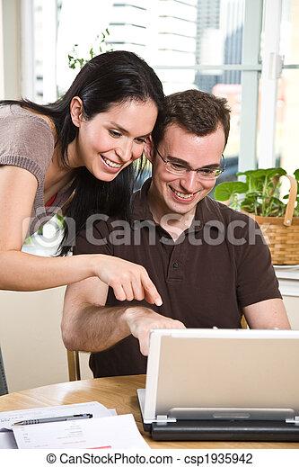 pagar, operação bancária, par, contas, online - csp1935942