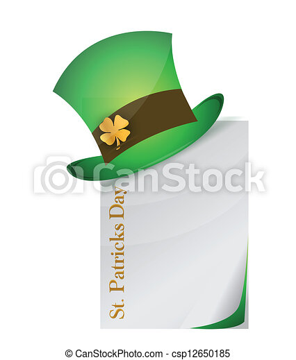 page and St. Patrick's Day hat with clover - csp12650185