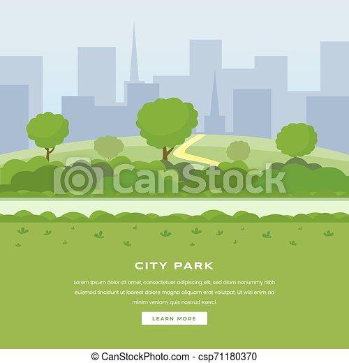 La página de aterrizaje del vector del parque de la ciudad moderna. Árboles verdes y arbustos caminan, rascacielos en el espacio de la ciudad, ocio al aire libre en el área pública de la naturaleza. Parque urbano recreativo, página web de color botánico en el jardín - csp71180370