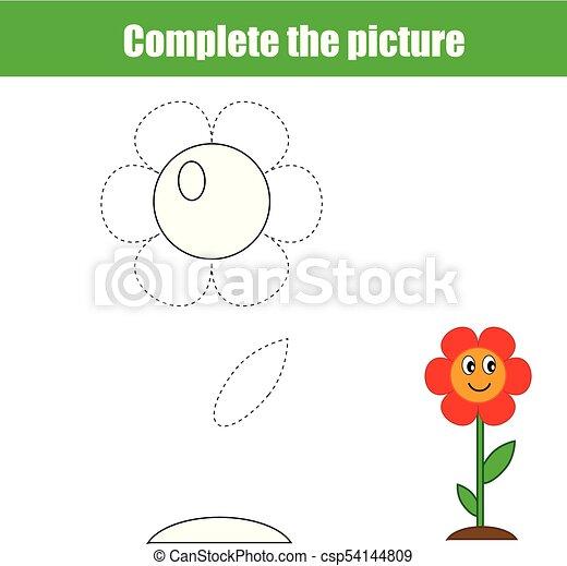 Page., bild, erzieherisch, färbung, vollständig, flower., printable ...