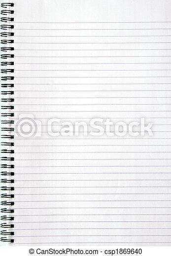 page., blanc, revêtu, cahier, vide - csp1869640