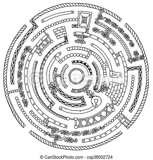 Page., blume, punkte, labyrinth, muster, kranz, linien,... Vektor ...