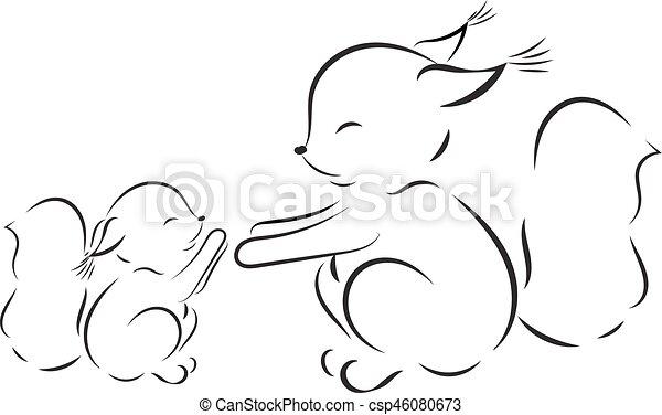 Page., colorido, contorno, ardillas, vector, mamá, bebé, dibujo ...