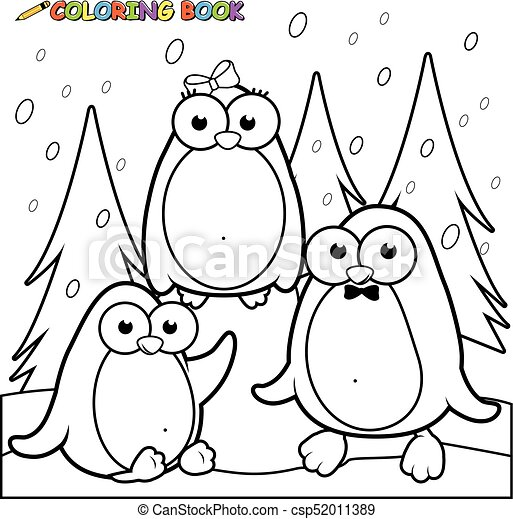 Paisaje nevado con pingüinos sobre hielo. Página de color blanco y negro. - csp52011389