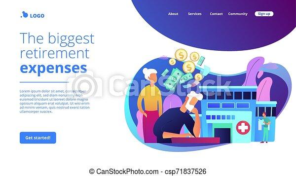 page., concept, tussenverdieping, kosten, gezondheidszorg, pensioentrekkeren - csp71837526
