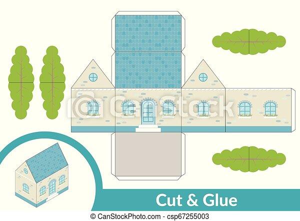 page., coupure, art, illustration., house., papier, jeu, vecteur, model., activité, colle, enfants, 3d - csp67255003