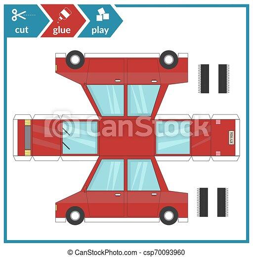 page., coupure, art, illustration., papier, jeu, vecteur, voiture., model., activité, colle, enfants, 3d - csp70093960