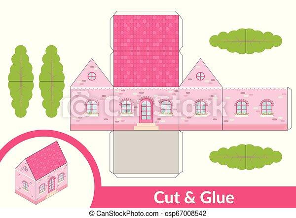 page., coupure, art, illustration., house., papier, jeu, vecteur, model., activité, colle, enfants, 3d - csp67008542