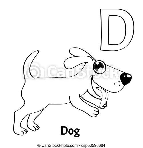 Page., d, färbung, alphabet, hund, vektor, brief. Dog.,... Vektor ...