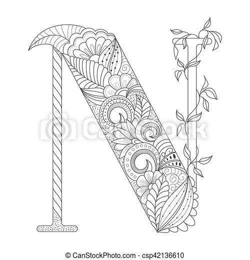 Page., dekorativ, färbung, gekritzel, ornament., abbildung ...