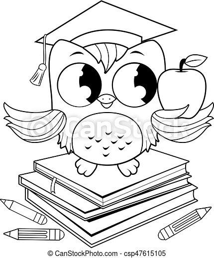 Page., eule, färbung, studienabschluss, buecher, hut, buch ...