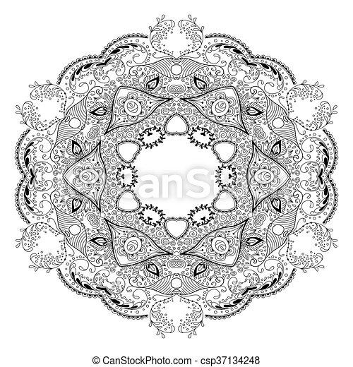 Page., färbung, abstrakt, ornament., hintergrund., mandala.,... EPS ...