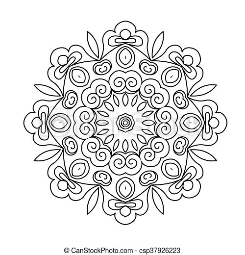 Page., färbung, abstrakt, ornament., hintergrund., mandala ...