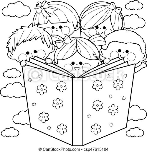 Page., färbung, gruppe, kinder, buch, lesende . Book.,... Vektor ...