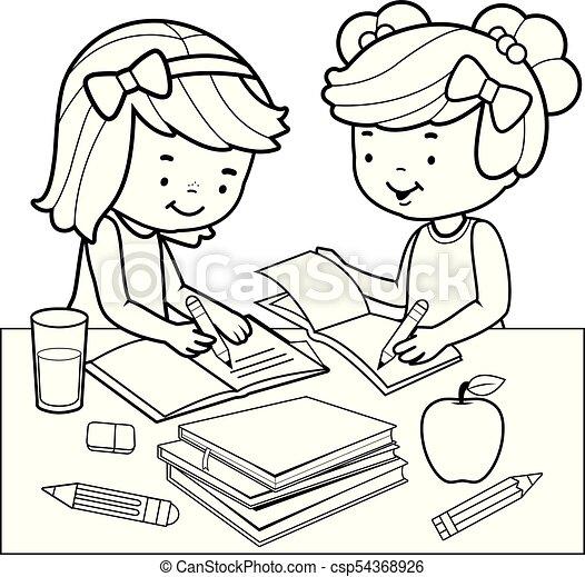 Page., färbung, homework., studenten, buch, schwarz, weißes ...