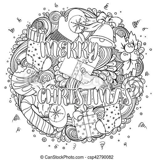 Page., färbung, satz, weihnachten, gruß, pattern., idee, karten ...