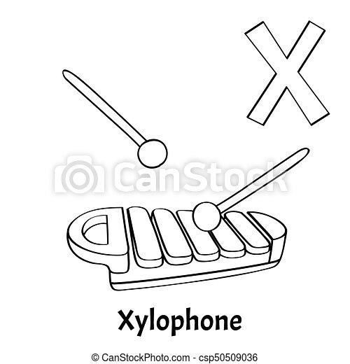 Page., färbung, x, alphabet, xylophon, vektor, brief. Page ...