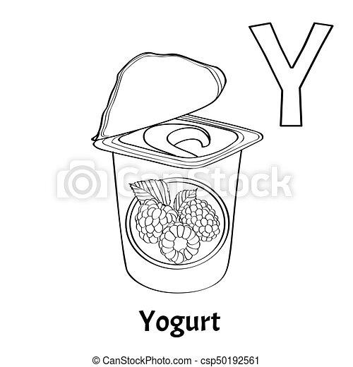 Page., färbung, y, alphabet, vektor, brief, joghurt. Page ...