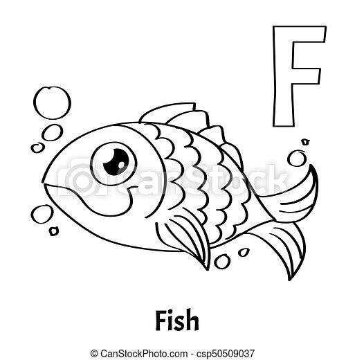 Page., fish., färbung, alphabet, vektor, buchstabe f. Page ...