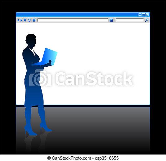 page, fond, vide, femme affaires, navigateur web - csp3516655