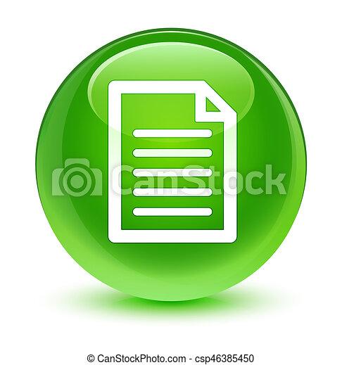 Page icon glassy green round button - csp46385450
