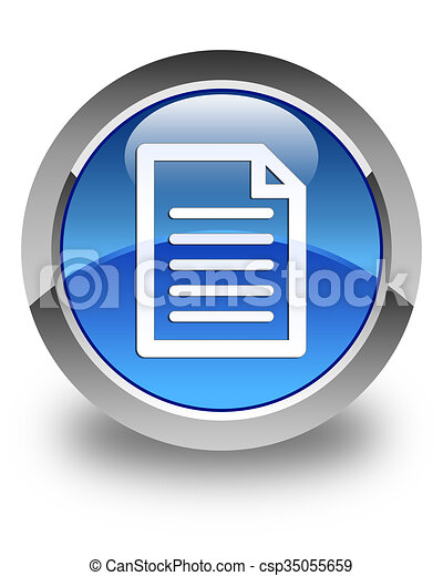 Page icon glossy blue round button - csp35055659