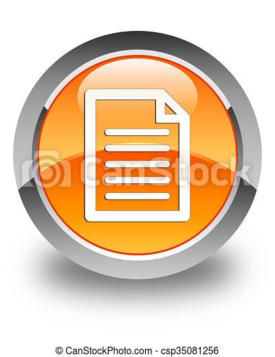 Page icon glossy orange round button - csp35081256