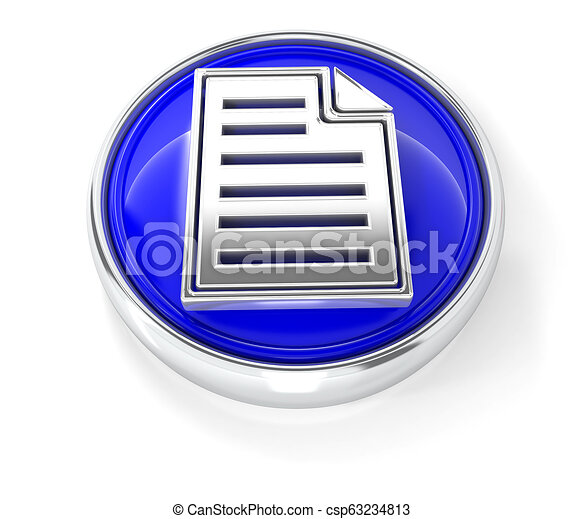 Page icon on glossy blue round button - csp63234813