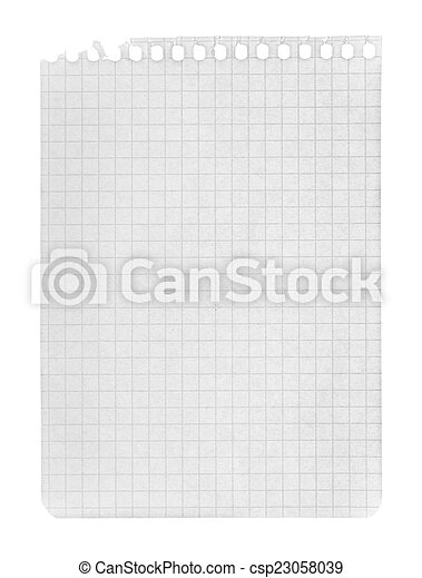 page in a cage torn from a notebook on an isolated white backgro - csp23058039